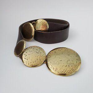 Coldwater Creek Medallion Hipslung Leather Belt, M